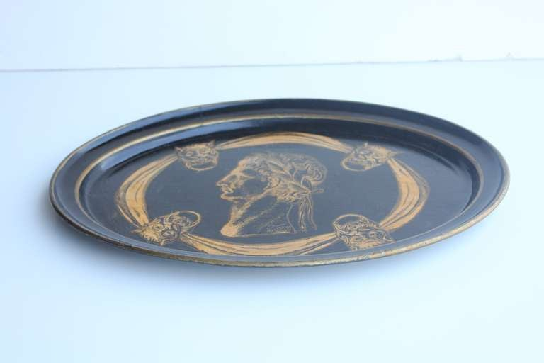 Mid-20th Century Italian 1930's Decorative Lacquered Tray For Sale