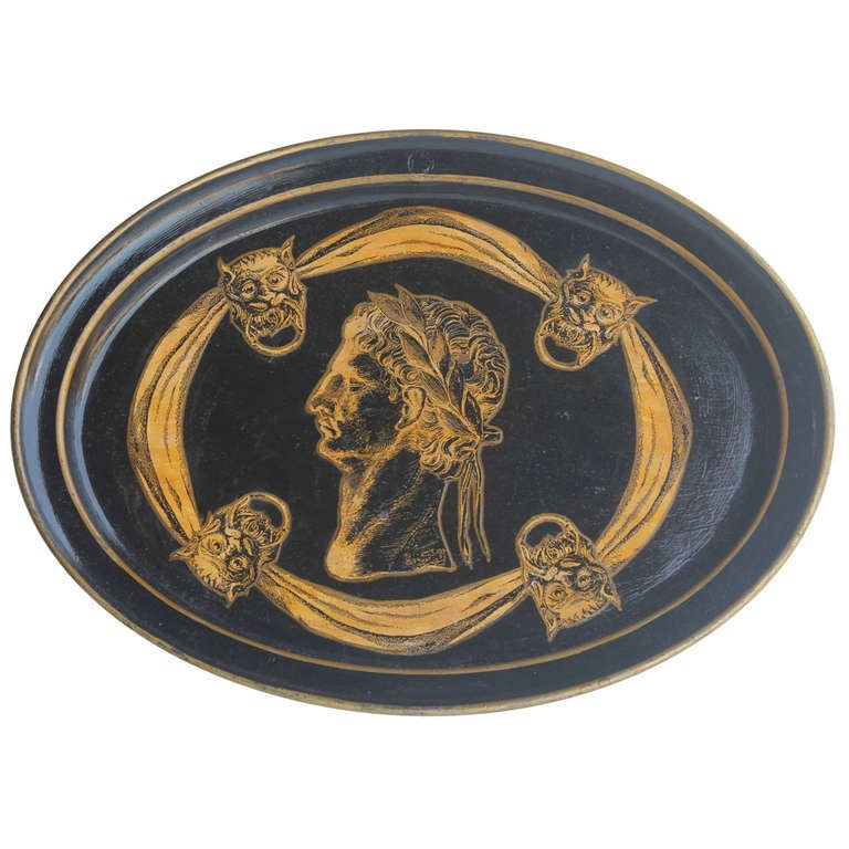 Italian 1930's Decorative Lacquered Tray For Sale