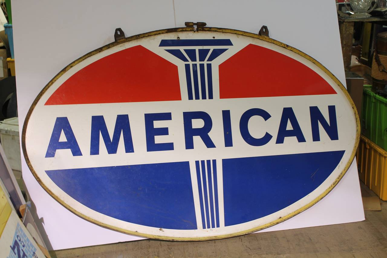 1950s Double Sided Gas Porcelain Sign Quot American Quot At 1stdibs