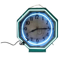 1930s Distressed Double Neon Clock
