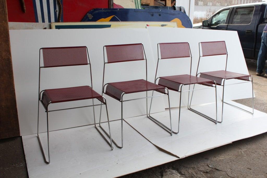 Modern Sheer Metal Bistro Garden Stacking Chairs At 1stdibs