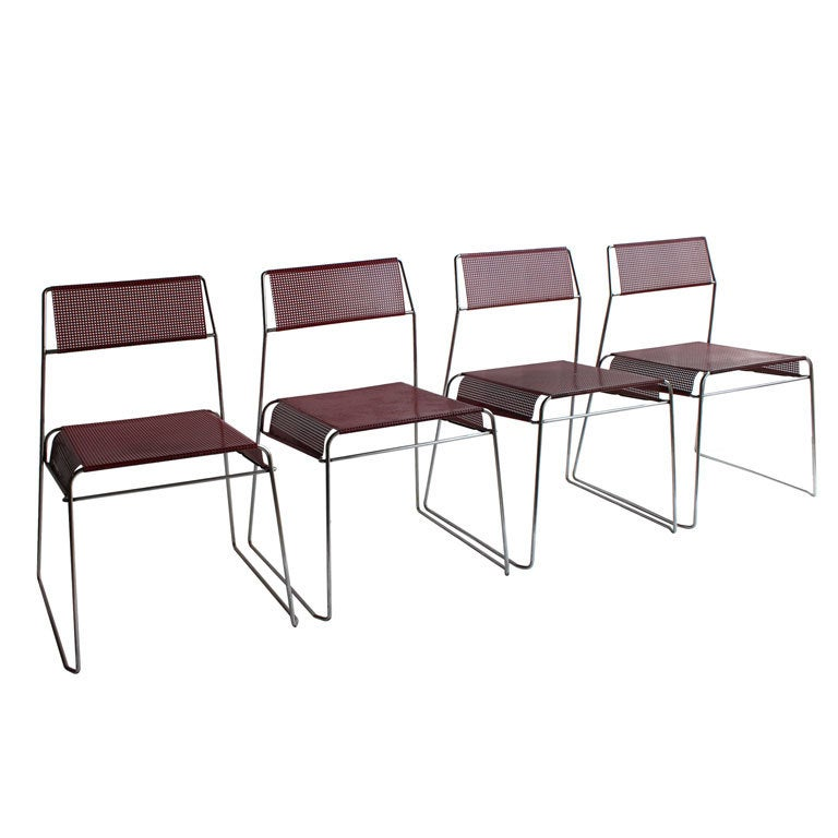 Modern Sheer Metal BistroGarden Stacking Chairs For Sale at 1stdibs
