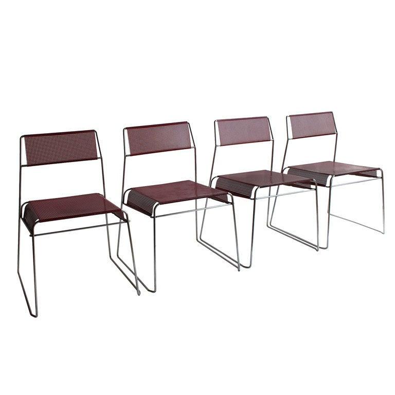 modern sheer metal bistro garden stacking chairs at 1stdibs. Black Bedroom Furniture Sets. Home Design Ideas