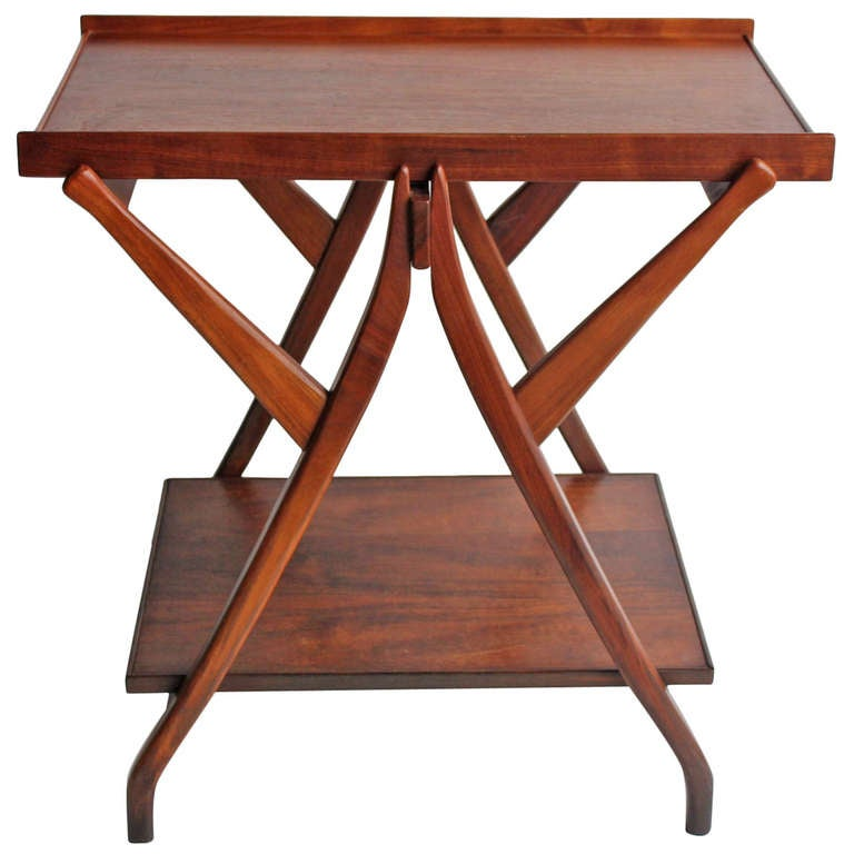 1950's Walnut Serving Table/Cart by Kipp Stewart for Drexel