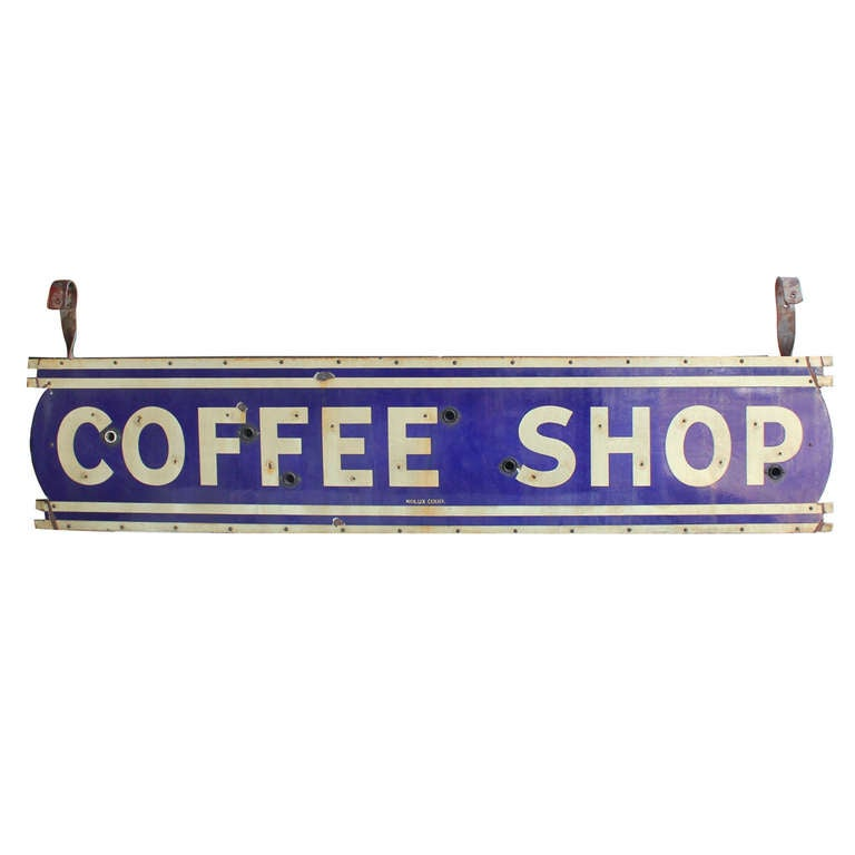 1930's Double Sided Porcelain Sign Coffee Shop 1