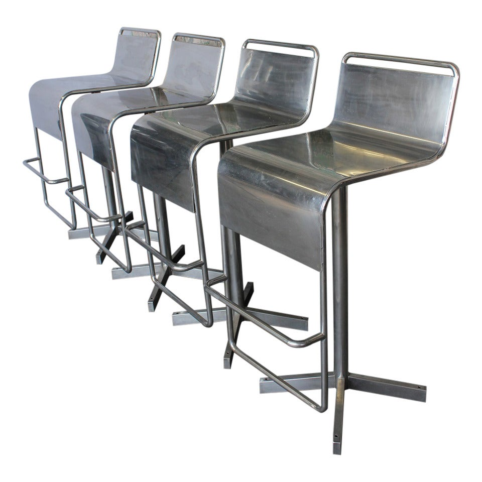 Modern Industrial Stainless Steel Bar Stools At 1stdibs