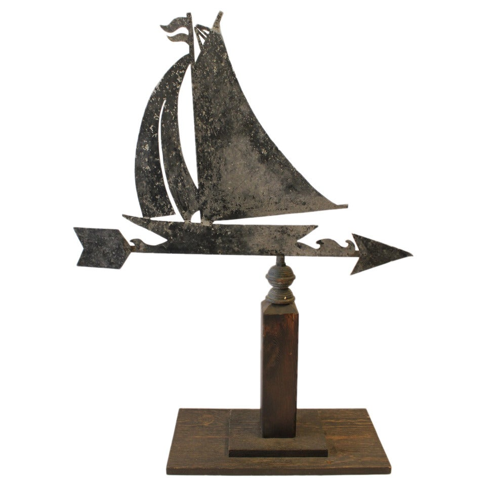 Vintage Wooden Weathervanes: Stylish Antique Sailboat Weathervane At 1stdibs