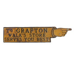 Antique Pointing Finger Advertising Sign