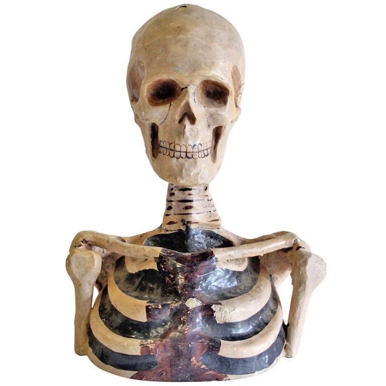 1800's Original Odd Fellows Paper Mache Skeleton Bust 1