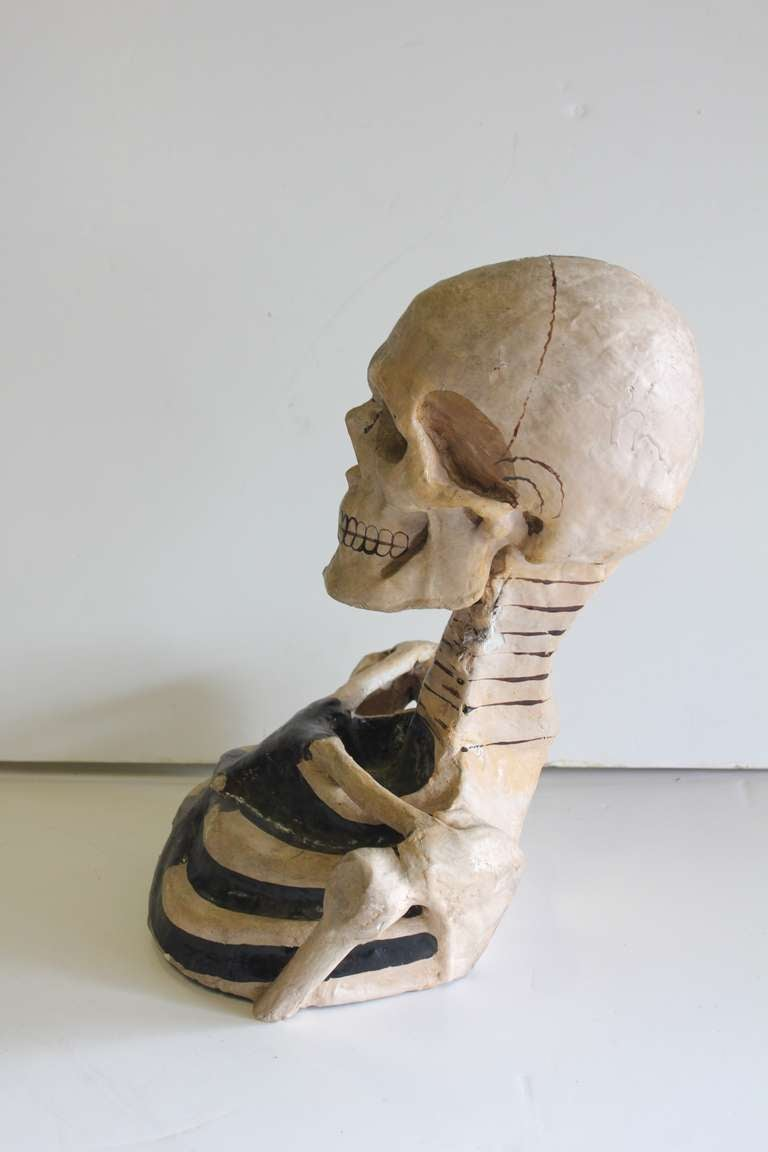 1800's Original Odd Fellows Paper Mache Skeleton Bust 3