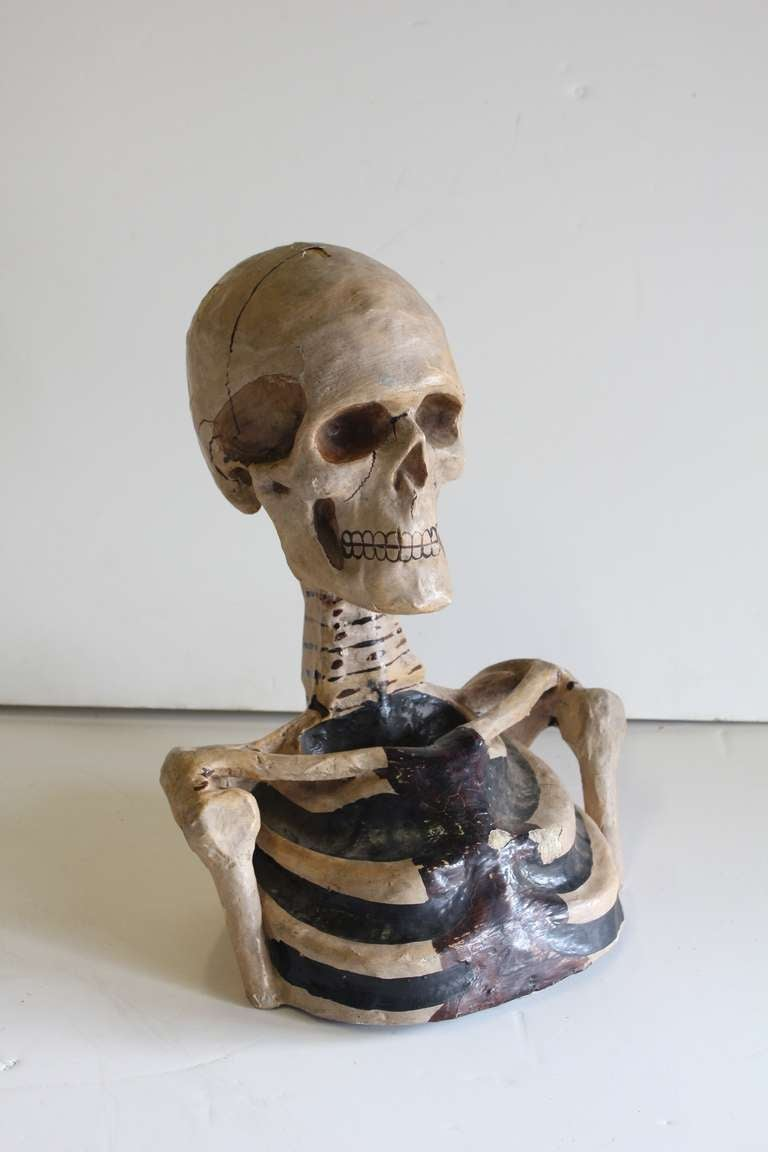 1800's Original Odd Fellows Paper Mache Skeleton Bust 2