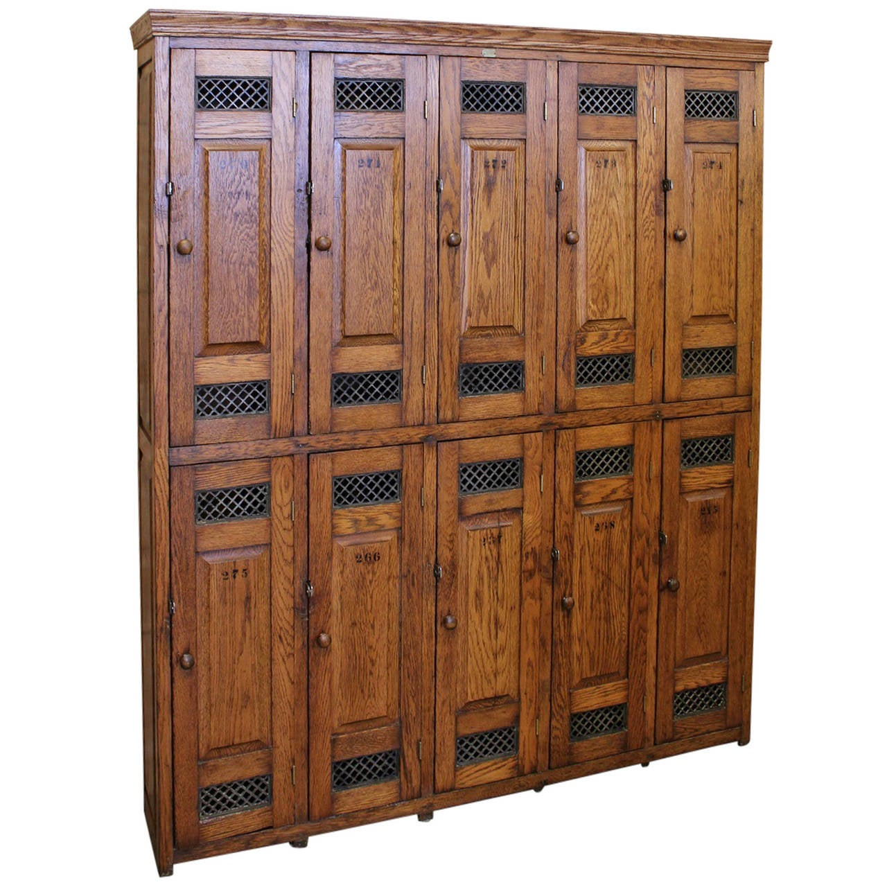 School Wooden Cabinets ~ Antique american school oak lockers at stdibs