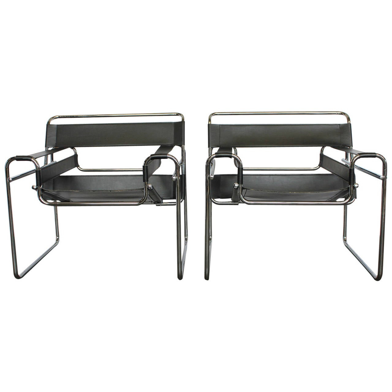 Pair Of Wassily Style Leather Chairs In The Manner Of Marcel Breuer