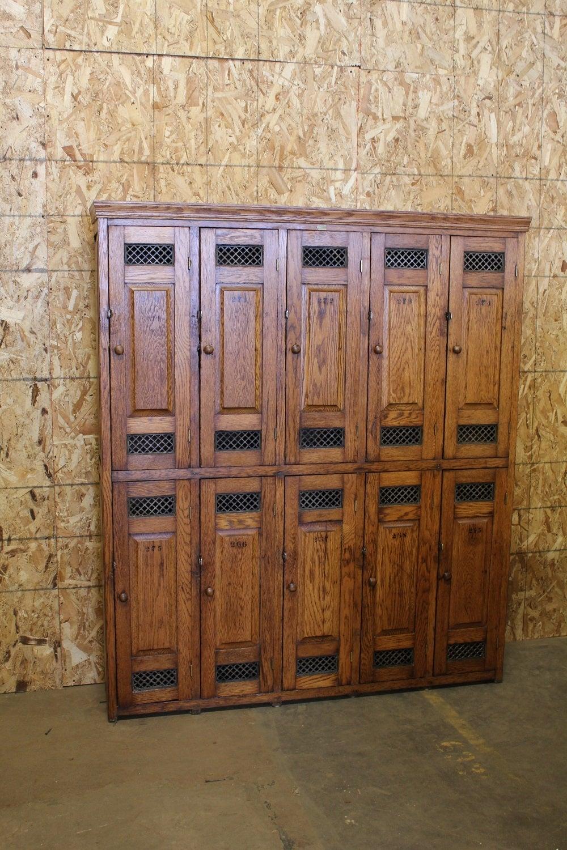 Antique American School Oak Lockers At 1stdibs