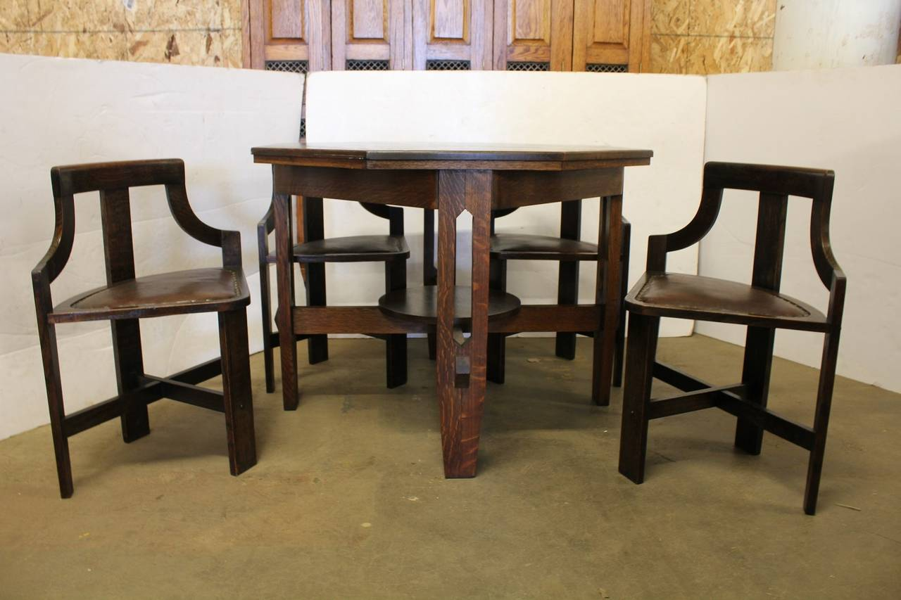Arts and crafts tables - Rare Arts Crafts Game Table And Chairs 2