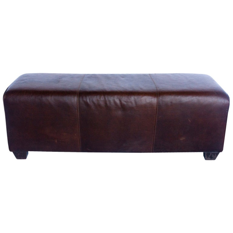 Rustic Leather Long Bench