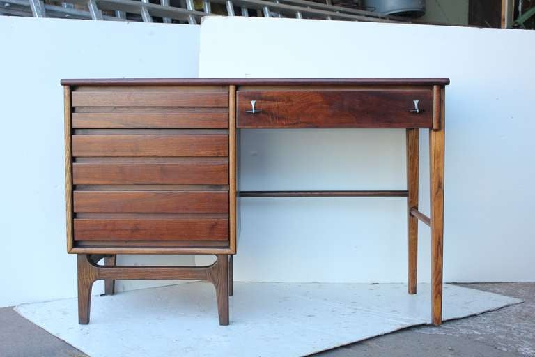 Mid Century Rosewood And Walnut Writing Desk At 1stdibs