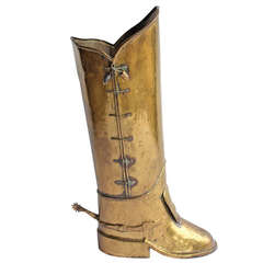 English Brass Boot Umbrella Stand