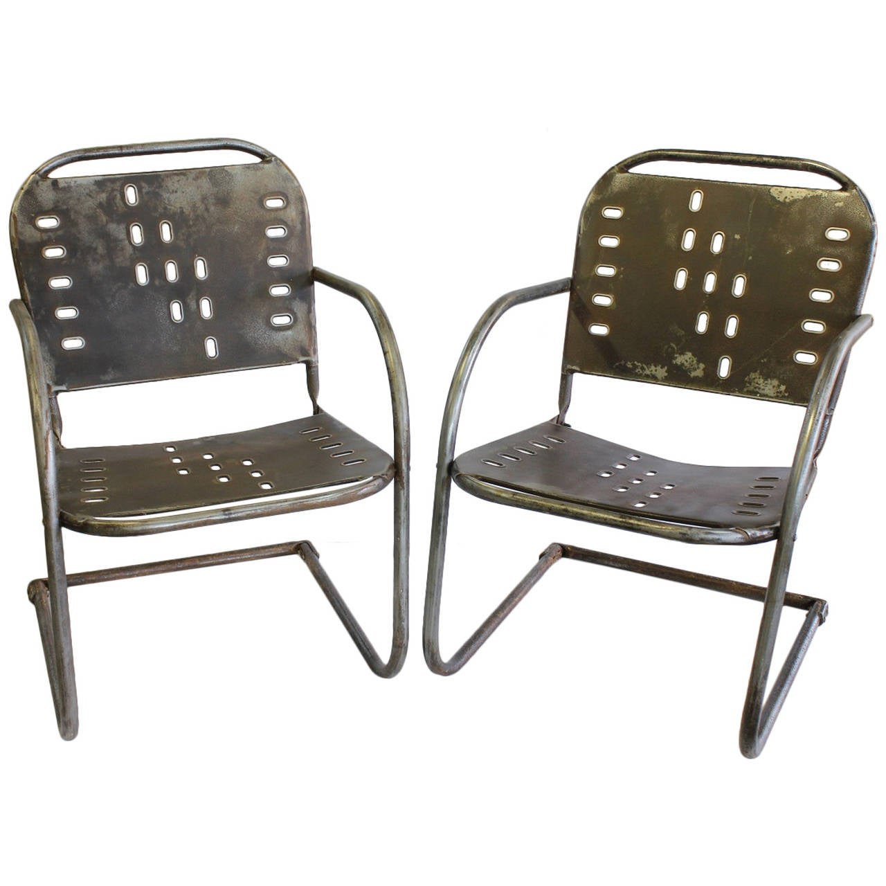 Mid-Century Garden Metal Lounge Chairs