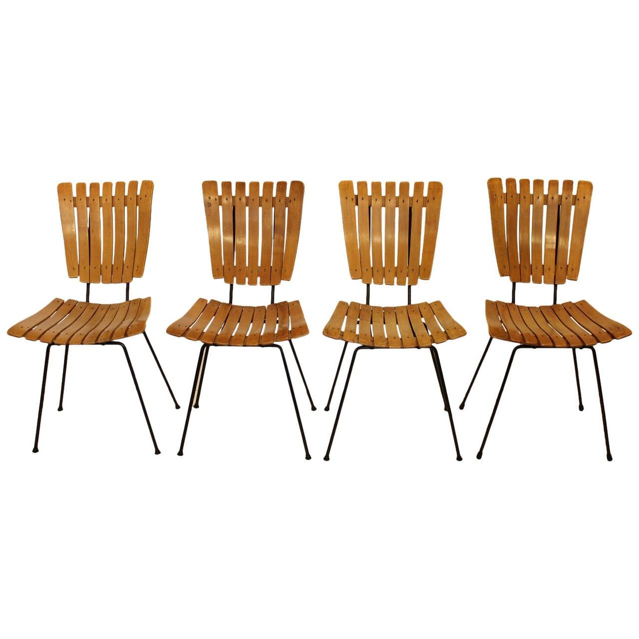 Mid Century Wood Slat Dining Chairs By Arthur Umanoff At