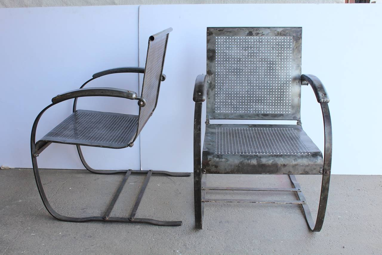 1930s American Metal Garden Lounge Chairs For Sale at 1stdibs