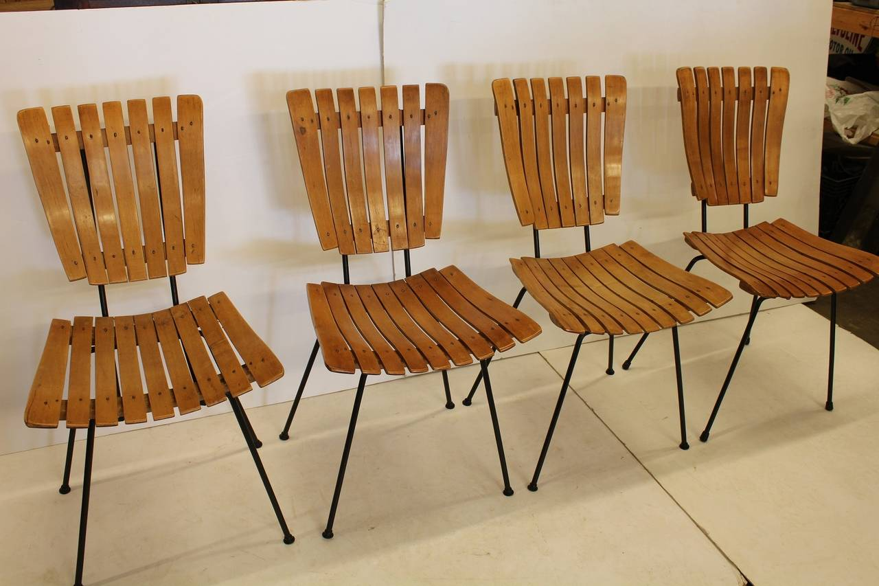American Mid Century Wood Slat Dining Chairs By Arthur Umanoff For Sale & Mid Century Wood Slat Dining Chairs By Arthur Umanoff at 1stdibs