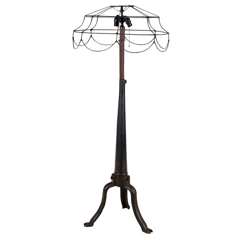industrial style cast iron floor lamp at 1stdibs. Black Bedroom Furniture Sets. Home Design Ideas