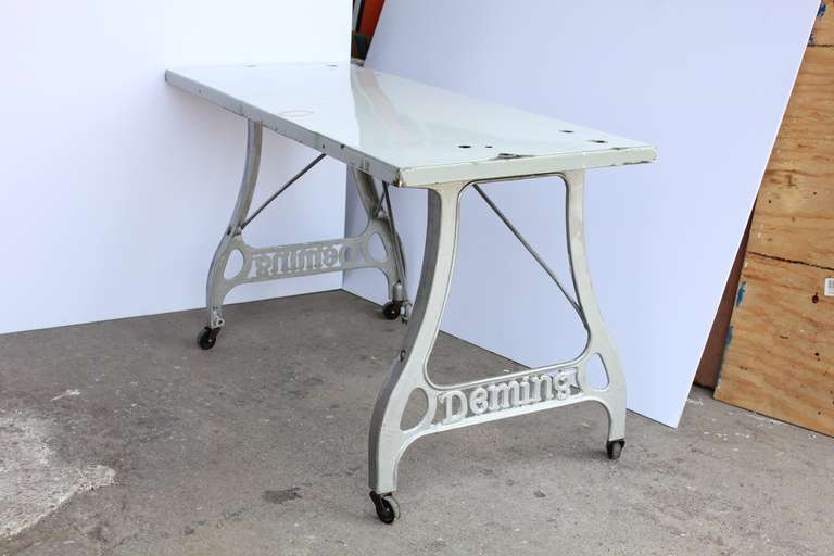 American Antique Industrial Folding Table For Sale