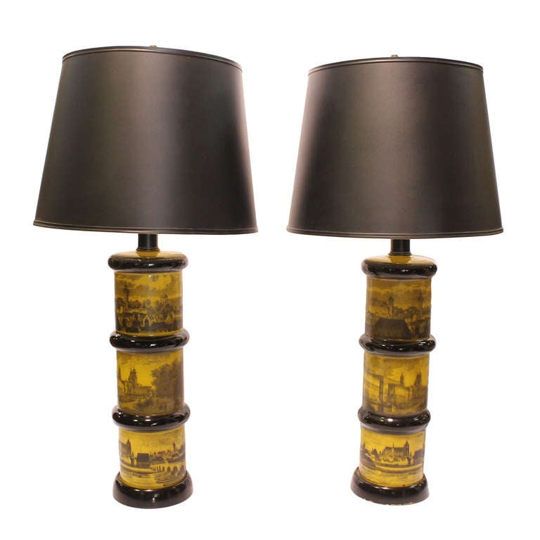 Pair of Fornasetti Style Table Lamps