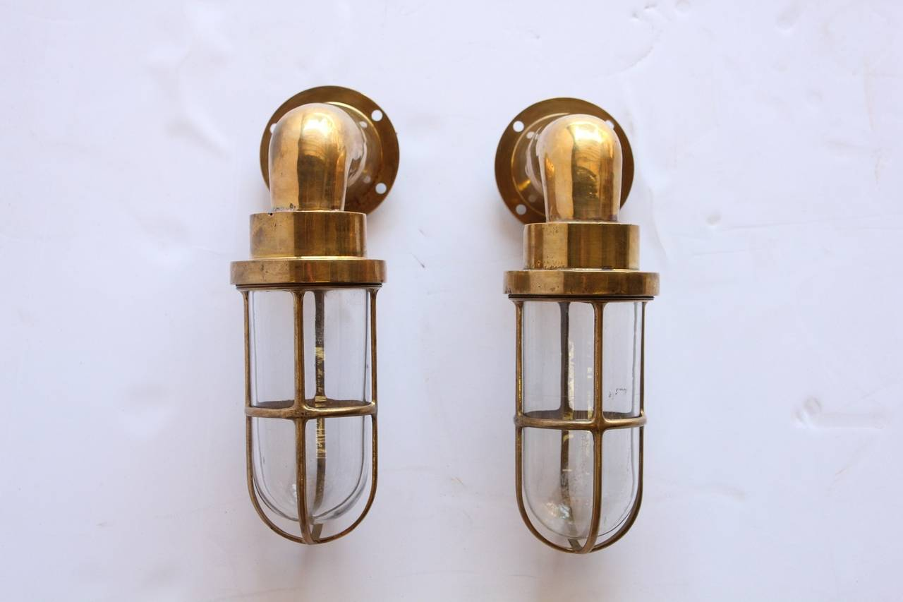 Pair of Nautical Brass Long Bulkhead Ship Sconces at 1stdibs