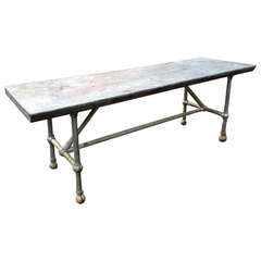 Vintage Industrial Table with Zinc Top