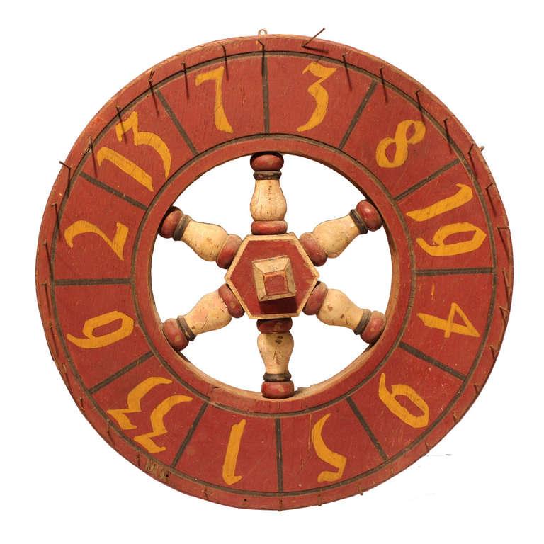Antique Double Sided Folk Art Game Wheel