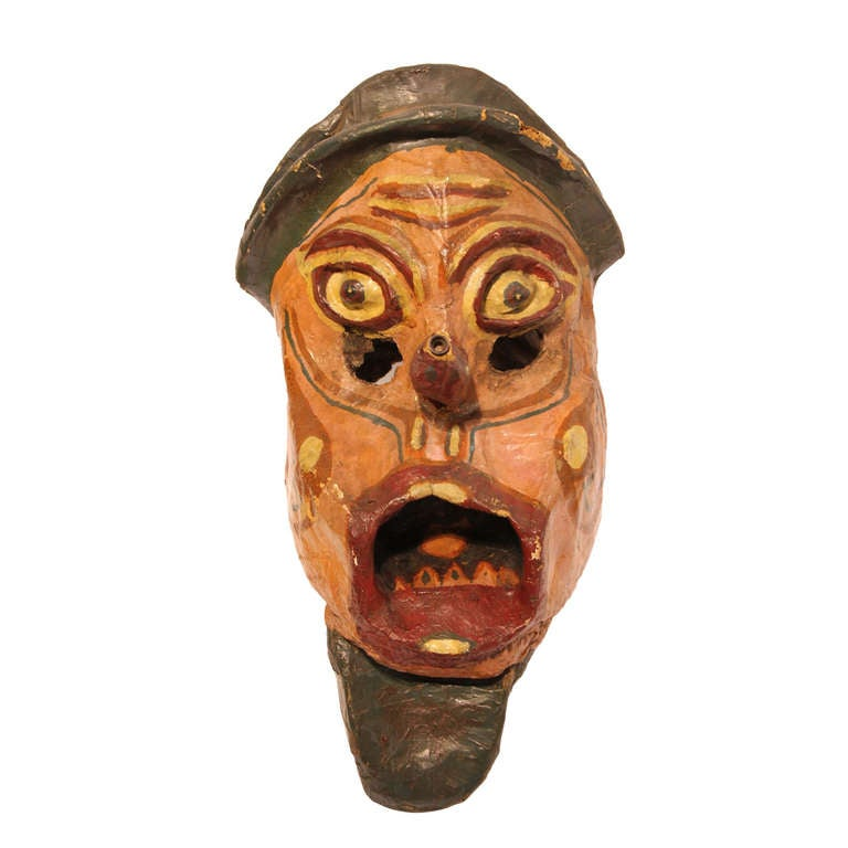 Large Early 1900's Paper Mache Carnival Head