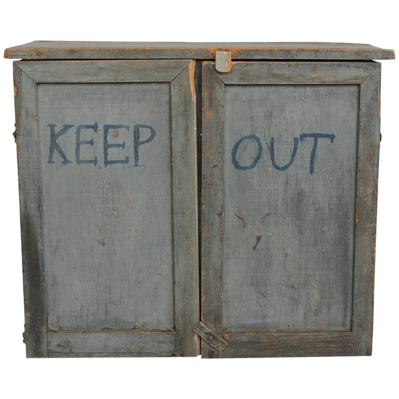 "Vintage Folk Art Tin and Wood ""Keep Out"" Cabinet"