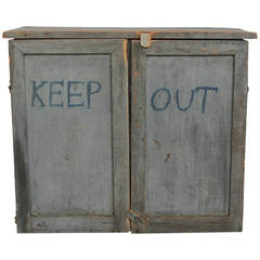 """Vintage Folk Art Tin and Wood """"Keep Out"""" Cabinet"""