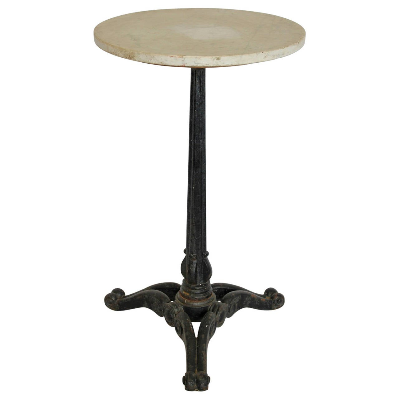 Marble Bistro Accent Table: Antique American Cast Iron And Marble Bistro Table At 1stdibs