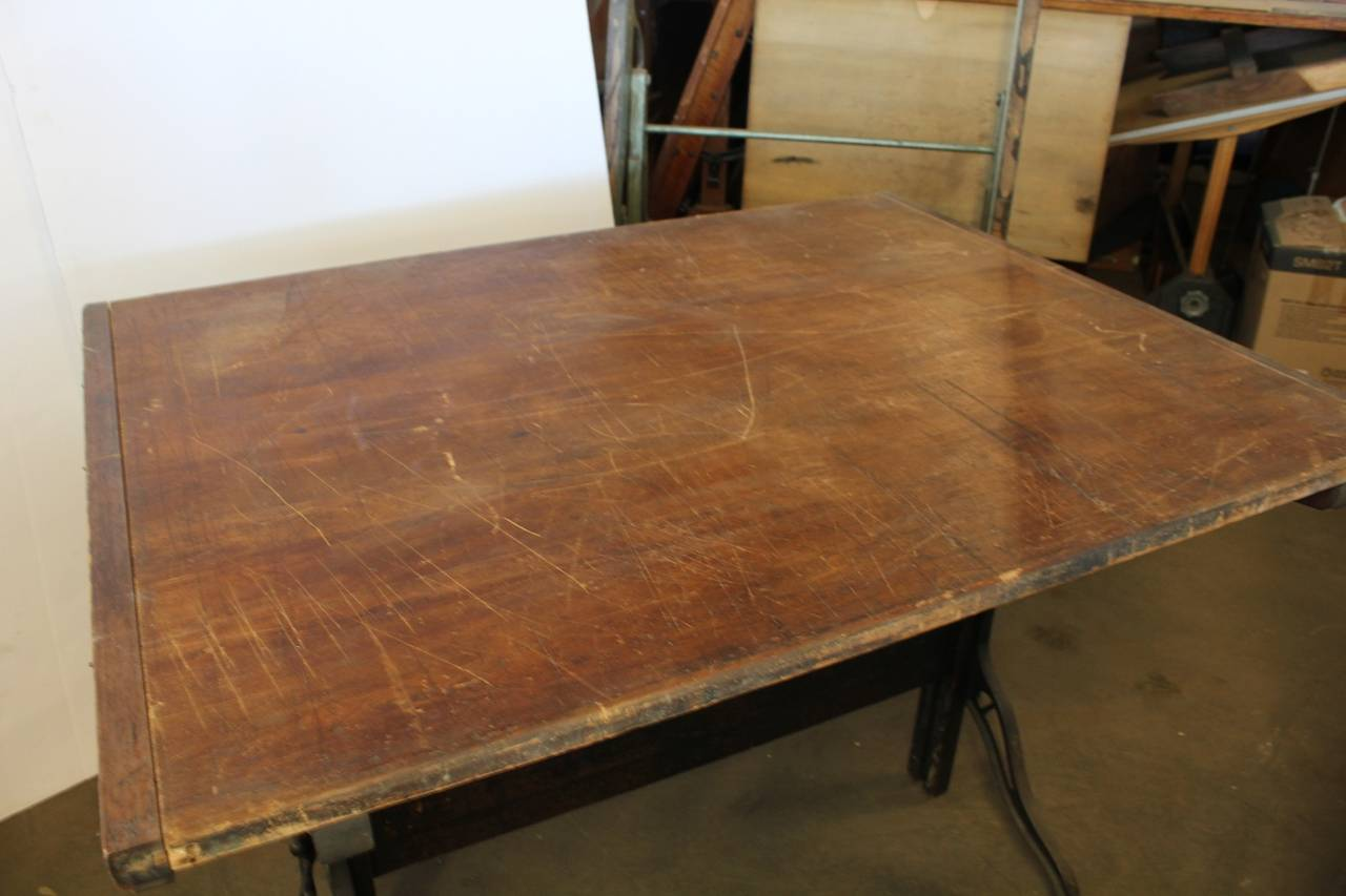 Industrial Antique American Drafting Table by Dietzgen For Sale