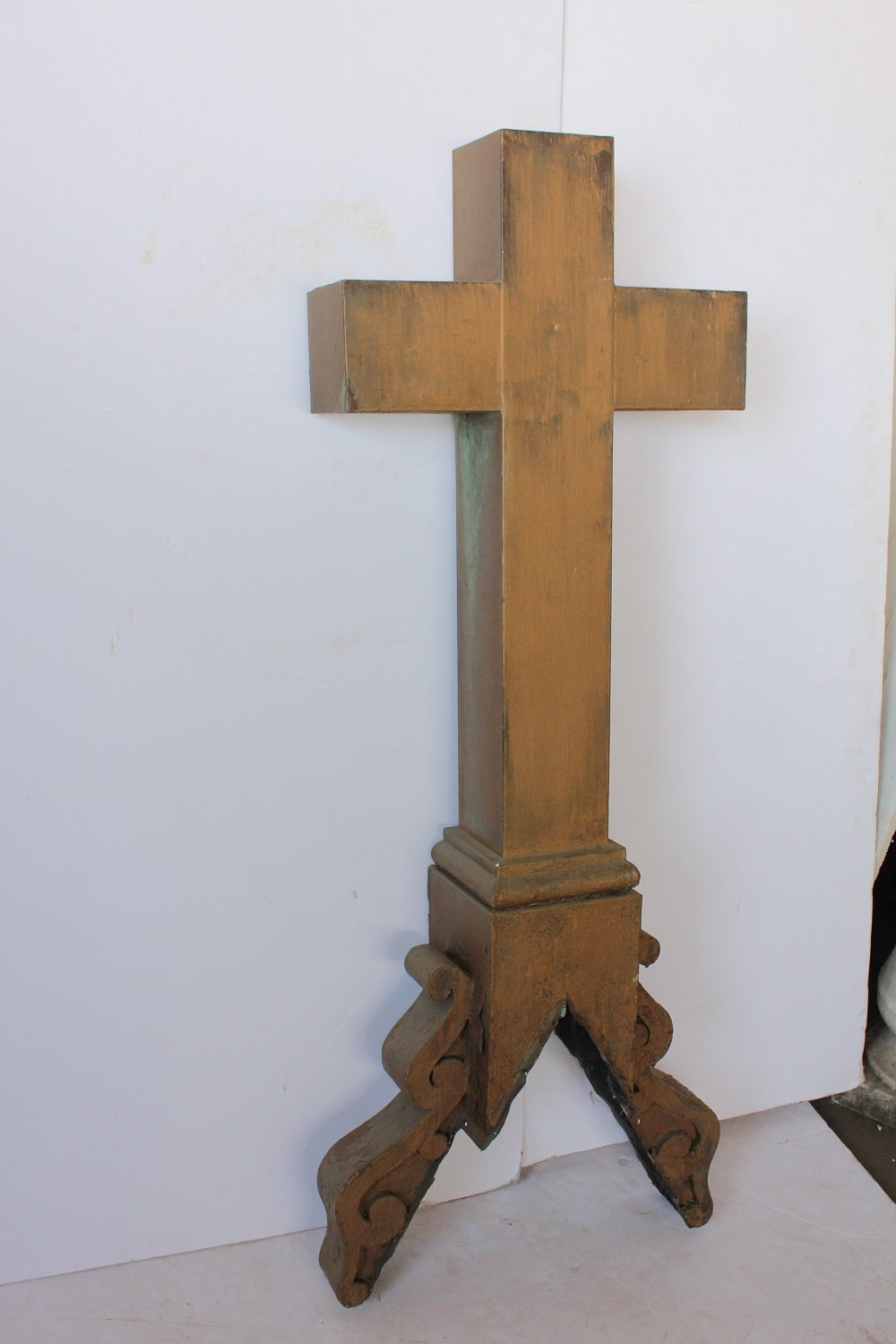 American Tall Antique Church Tin Cross Ornament For Sale