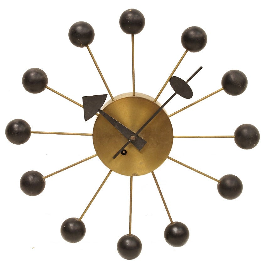 1950s george nelson ball wall clock for howard miller at