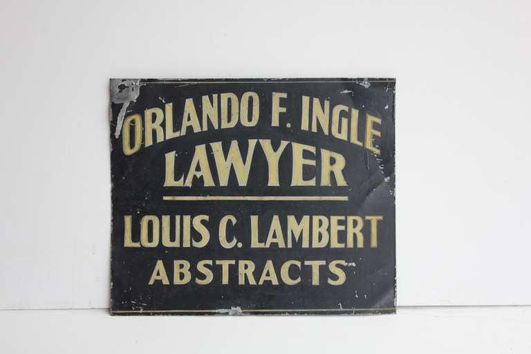 Folk Art 1900's Hand painted Tin Trade Sign For Lawyer/Abstracts For Sale