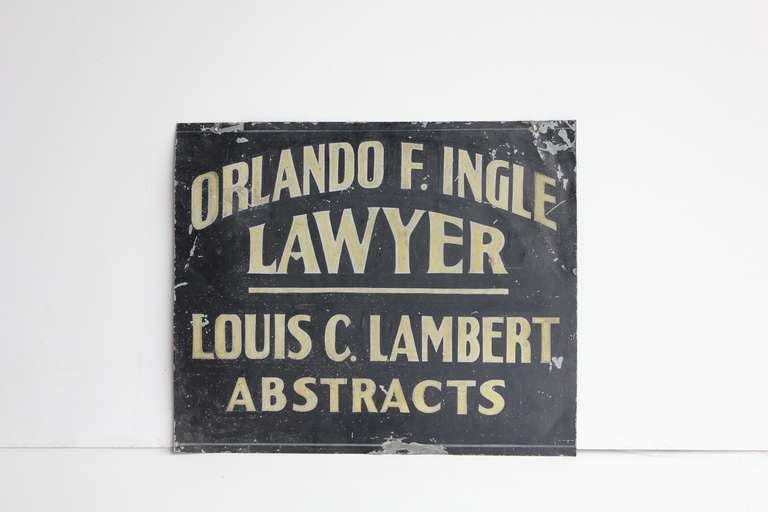 1900's hand painted tin trade sign for lawyer/abstracts.