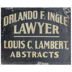 1900's Hand painted Tin Trade Sign For Lawyer/Abstracts