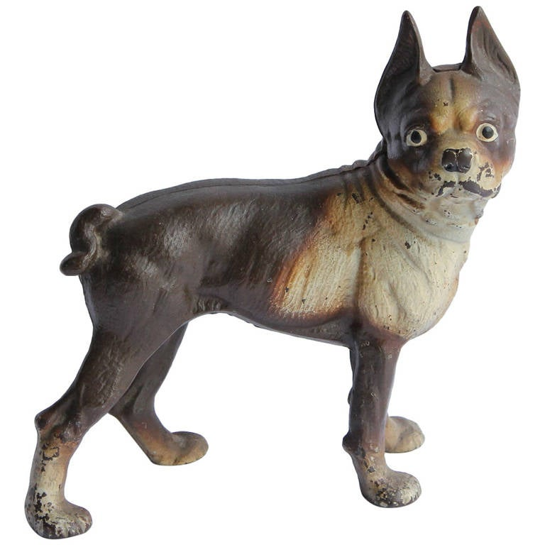 Antique cast iron boston terrier dog doorstop for sale at 1stdibs - Cast iron dog doorstop ...