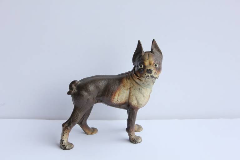 Charming antique cast iron Boston Terrier dog doorstop. Original paint. - Antique Cast Iron Boston Terrier Dog Doorstop For Sale At 1stdibs