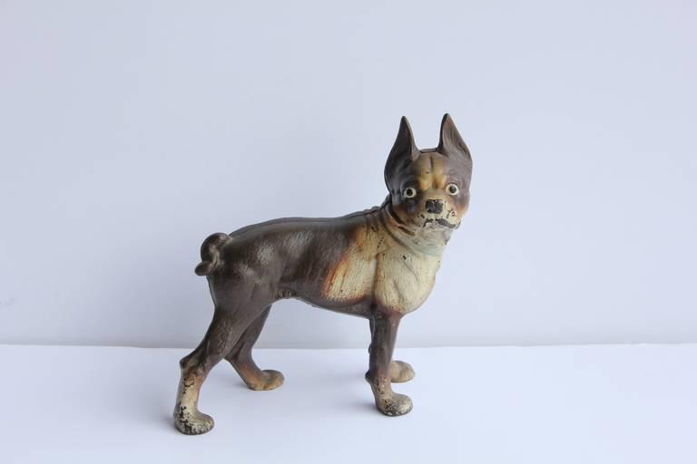 Antique Cast Iron Boston Terrier Dog Doorstop 2