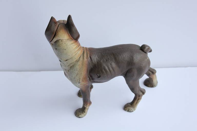 Antique Cast Iron Boston Terrier Dog Doorstop In Good Condition For Sale In Chicago, IL