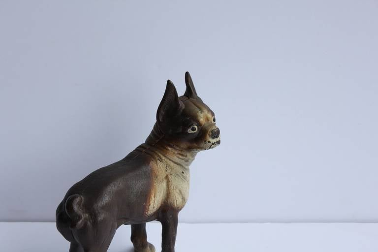 20th Century Antique Cast Iron Boston Terrier Dog Doorstop For Sale