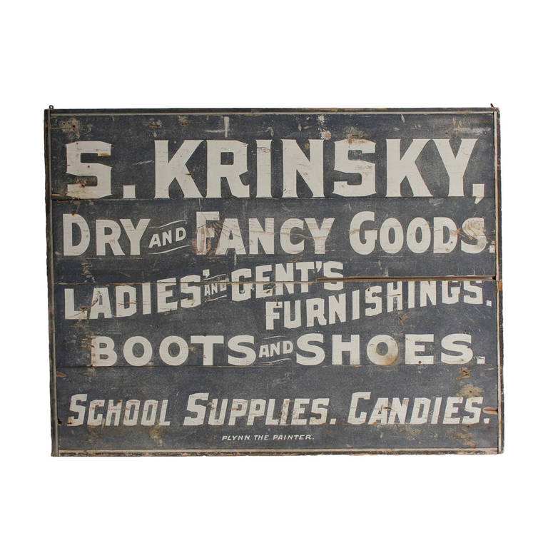 """Folk Art Wood """"Dry and Fancy Goods"""" Sign"""