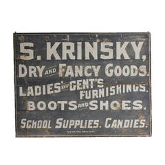 "Folk Art Wood ""Dry and Fancy Goods"" Sign"