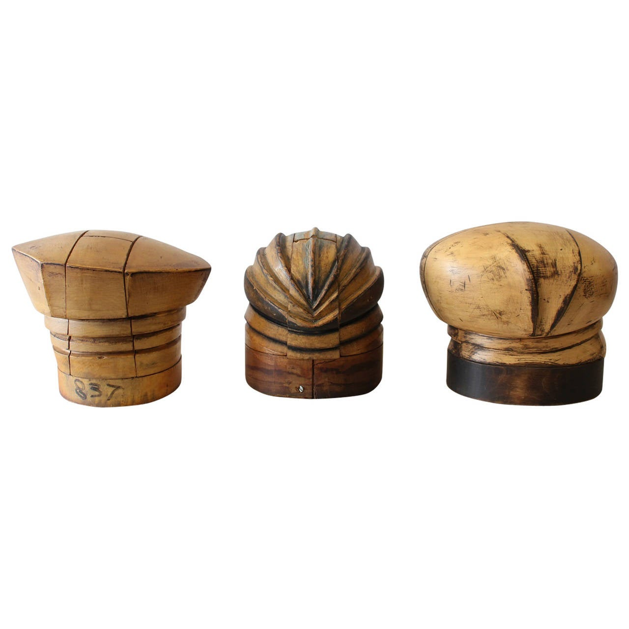 Antique american wood hat forms at stdibs